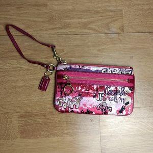 Coach Poppy Graffiti style Wristlet pink